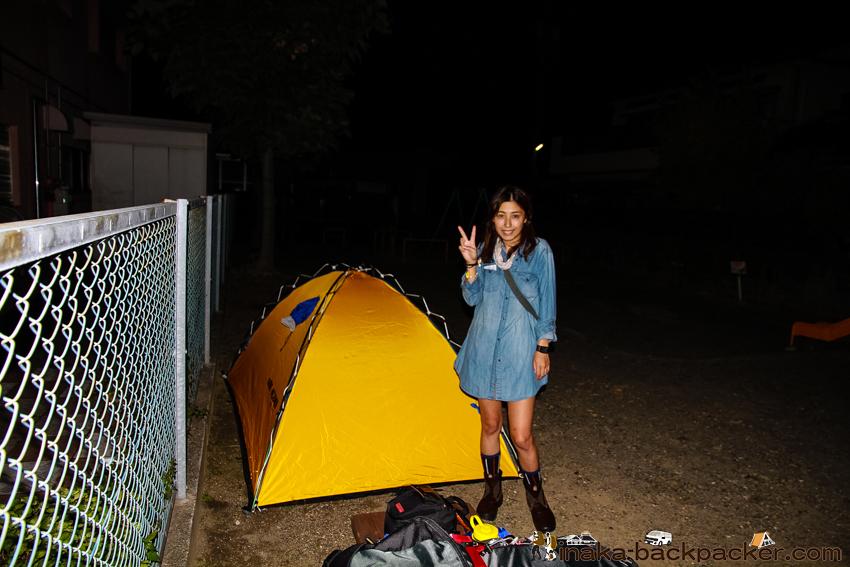 静岡県浜松駅 - 結花の初テント。浜松駅周辺の公園にて。バックパッカーブロガー