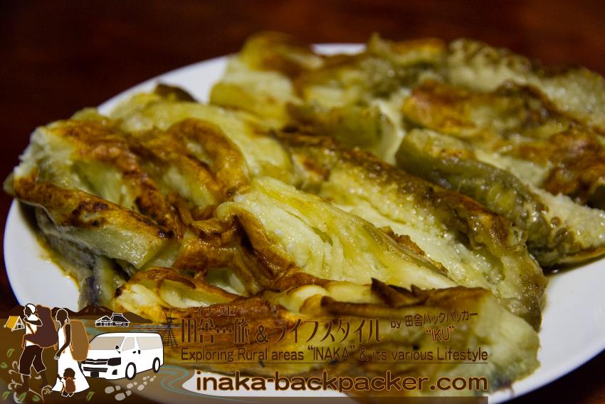 奥能登一周中 - 焼いた茄子。焼くと皮がぺろりとむける(石川県穴水町)