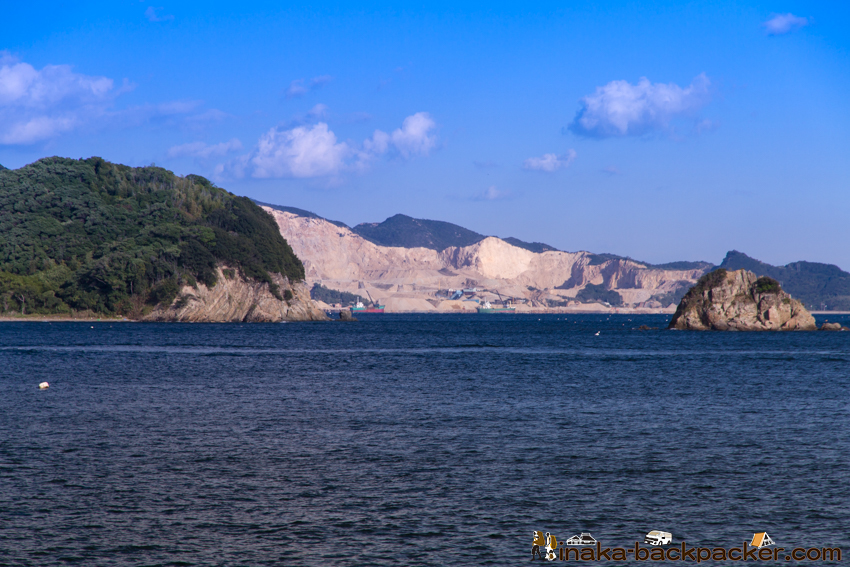 兵庫県 坊勢島(ぼうぜじま) 男鹿島 写真 飛行場 岩 島 掘削 削られる