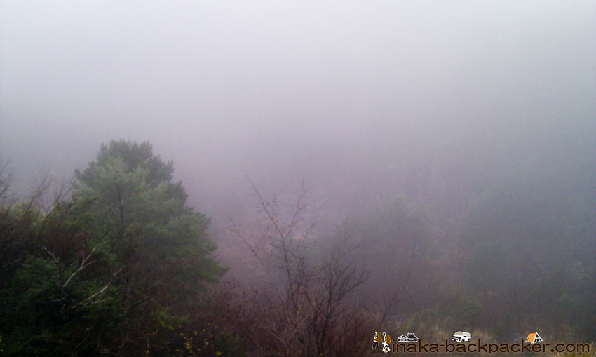 霧 山越え 道が見えない
