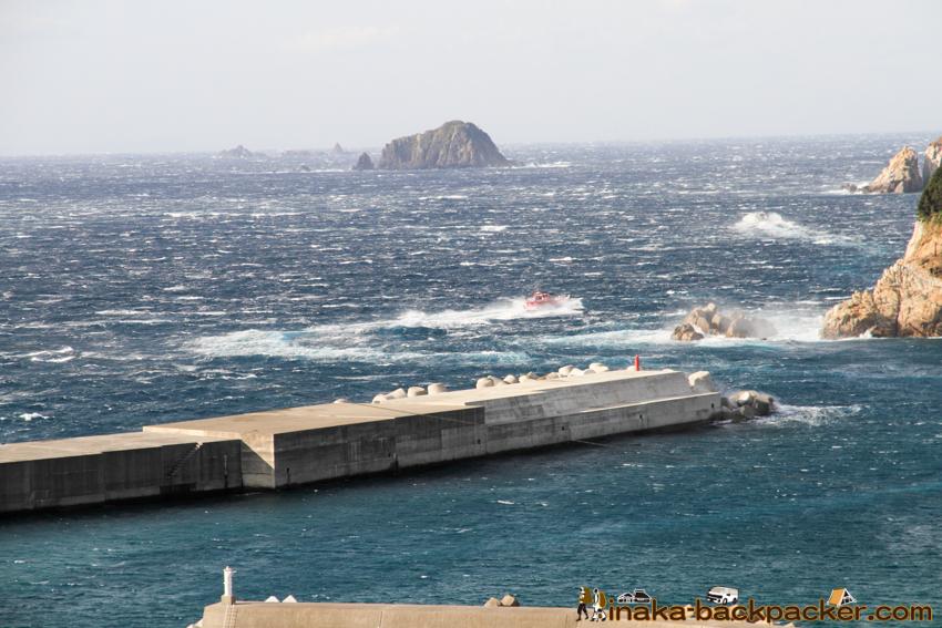 Okinoshima island in Kochi Japan 高知県 沖の島 人口200人 強風 島