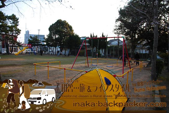 熊本県天草市本渡町 – 公園でのテント泊。グランドゴルフで目覚めるぼくらバックパッカー