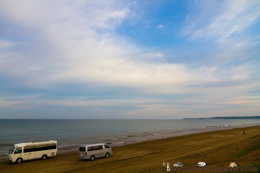 千里浜なぎさドライブウェイ  ハイエース キャンピングカー