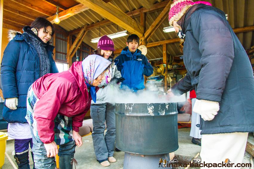 薪味噌作り 茹でる anamizu iwaguruma making miso experience