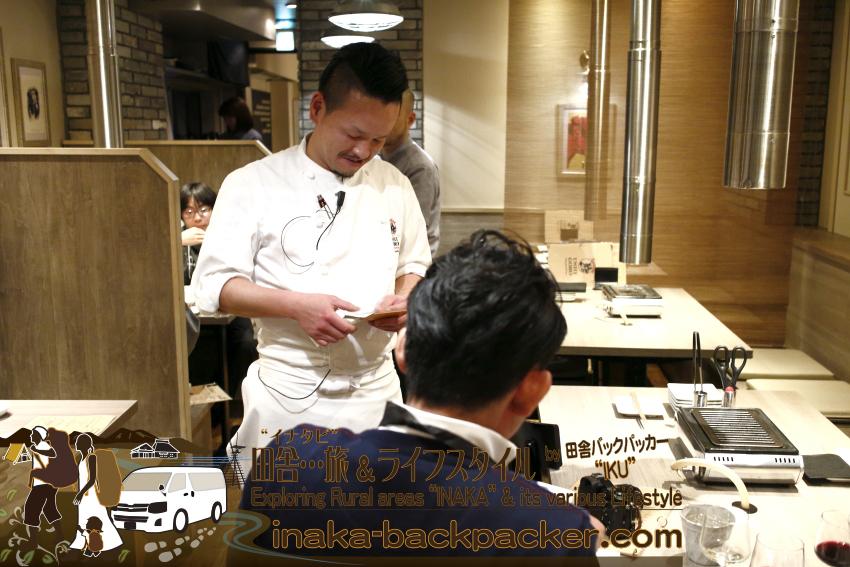 うしごろバンビーナ五反田店(東京都) の料理長・穂積広樹さんにご挨拶。