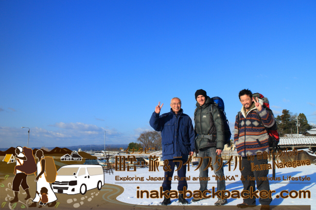 能登・穴水町岩車(あなみずまち いわぐるま)- 左から新田信明さん、JM、ぼく。