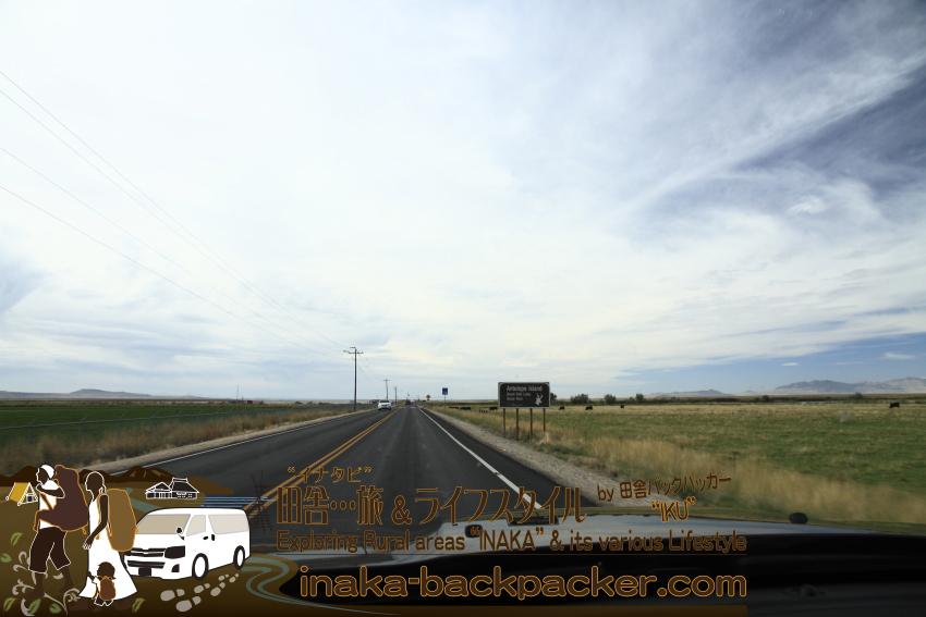 ユタ州グレートソルトレイク・アンテロープアイランドへの道のり。時差ボケが激しく休み休みの運転。ようやくAntelop Island Great Salt Lake State Parkの看板が見えてきた。