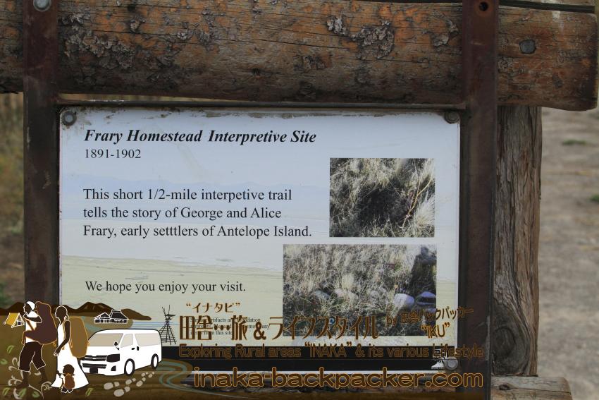 ユタ州グレートソルトレイク・アンテロープアイランド - その昔のアンテロープアイランドの移民George & Alice Franry夫婦が住んでいた様子が見れる痕跡の散策コース/トレイルもある。