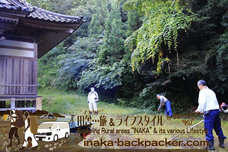 穴水町岩車にある奈古司神社(なこしじんじゃ)の草刈り作業