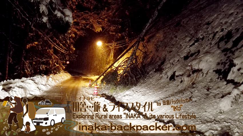 能登・穴水町岩車 - 早朝、とにかく、地元・岩車を抜け出すのに苦労...雪がドロドロ+凍っている状態だった。岩車を出ると...次の地域・比良へ抜ける坂道では電信柱と木が倒れているではないか...一瞬、東京行きなくなったか?!と思ったが、一車線は大丈夫だった。