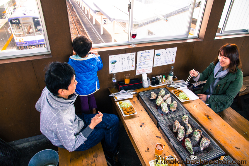 穴水駅 跨線橋 牡蠣 かき Oyster at Noto Ishikawa Anamizu Station Bridge