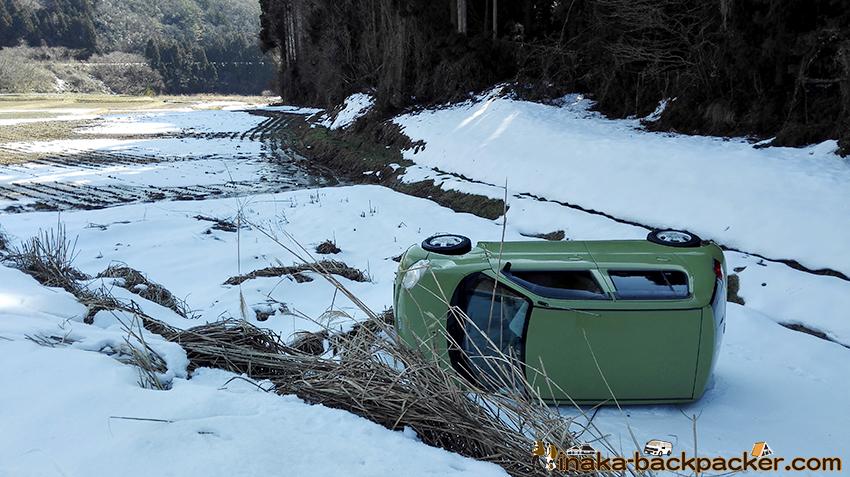 穴水町 凍結 車 一回転 横転
