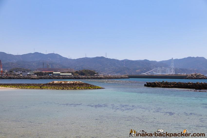 熊本県 天草 海 綺麗 天草 苓北町 富岡海水浴場 火力発電所