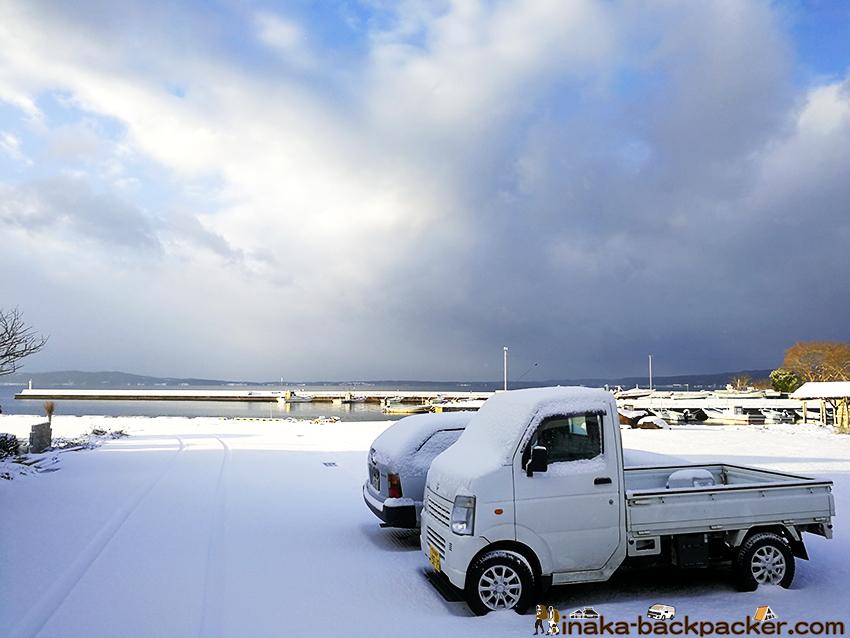 里海 雪景色 穴水町 岩車