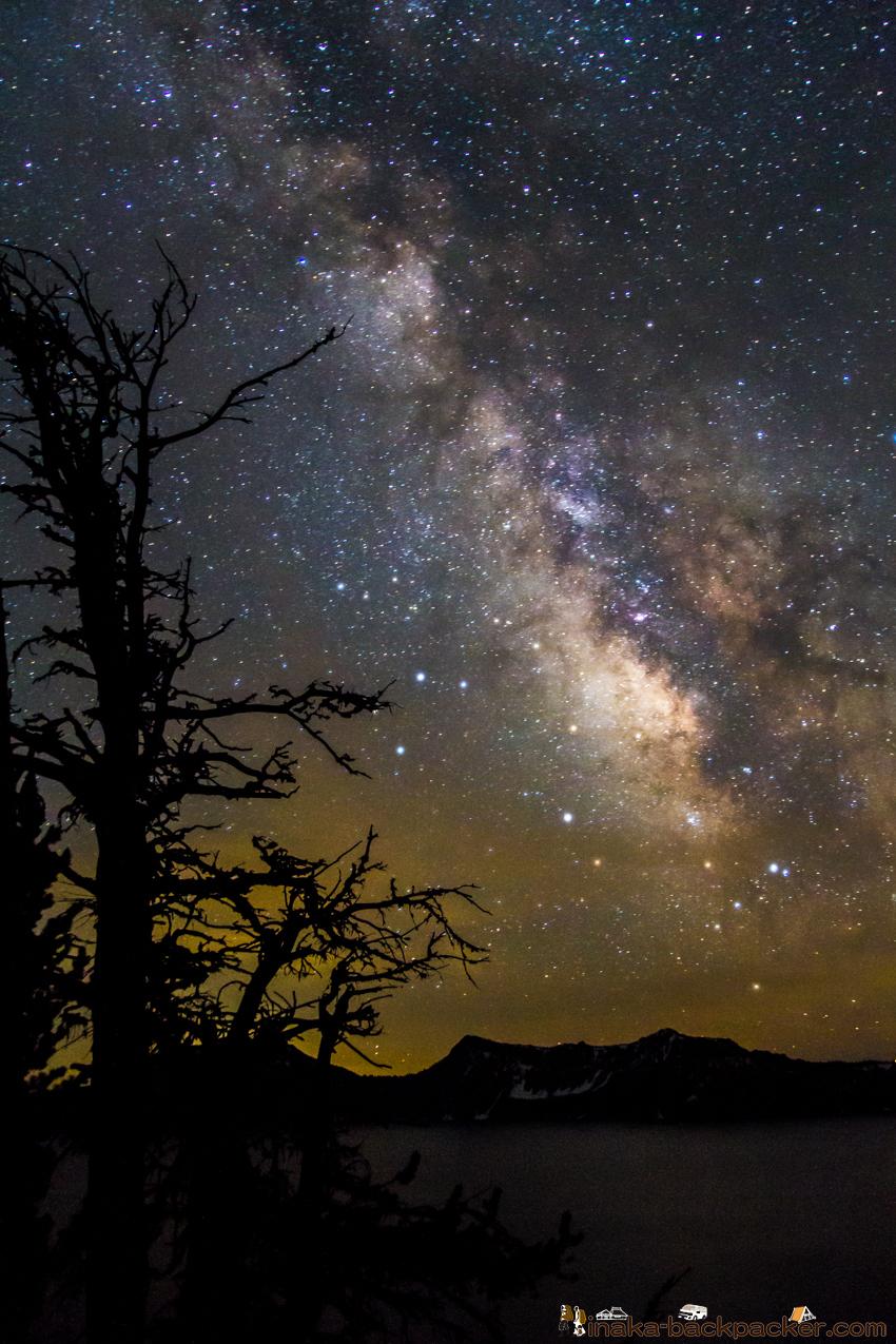 オレゴン クレーターレイク 星空 天の川 milkyway at crater lake in Oregon
