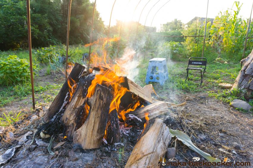 田舎 焚火