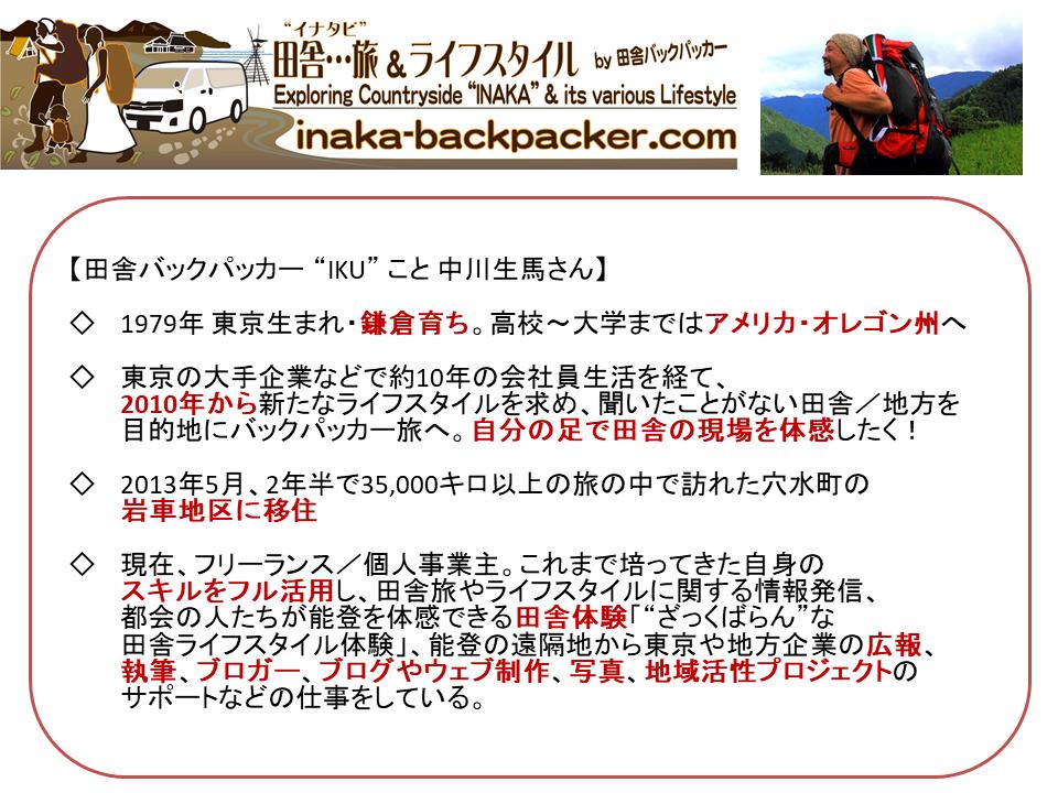 About Ikuma Nakagawa 中川生馬について
