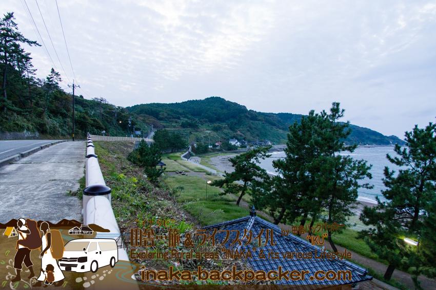 能登・輪島(石川県) - 袖ヶ浜海水浴場。ここにテントを張れそうだ。
