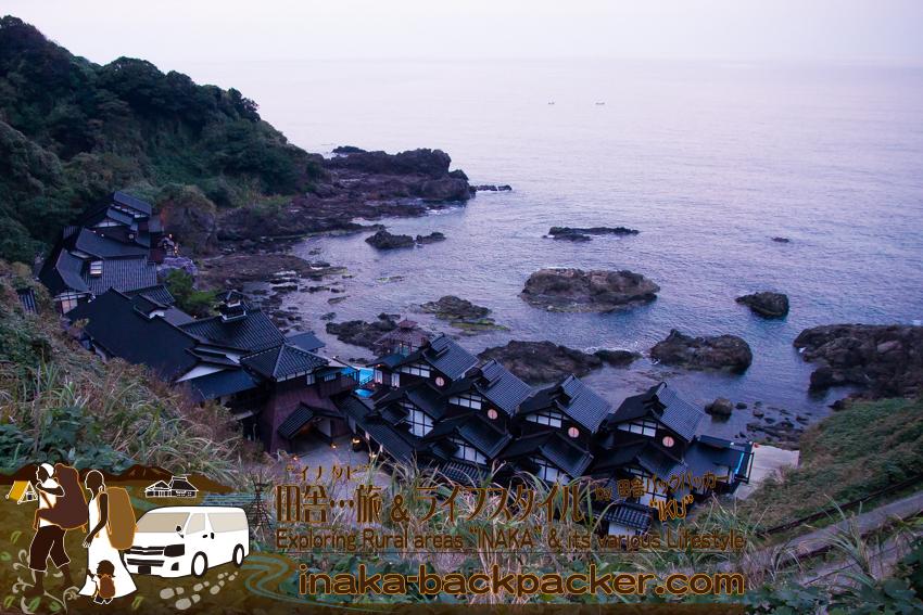 """奥能登一周中 - 能登半島の先端にある「ランプの宿」。日本三大パワースポット「聖域の岬」としても知られている(上から撮影)。A classy style hotel """"Lamp no Yado"""" in Ishikawa Pref. on Noto Peninsula."""
