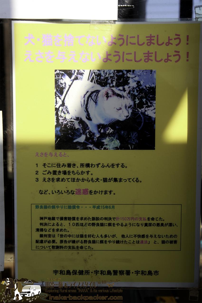 日振島 捨て猫 注意 ポスター ehime hiburishima island cat