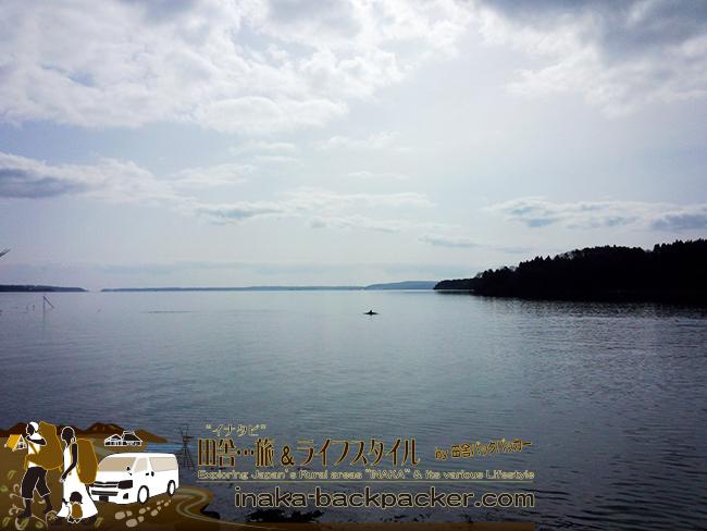 能登・穴水町川島の「潮騒の道」真横の海面に大きな円があるなぁっと思ったら...イルカだった。穴水の新たな名物になるだろうか...