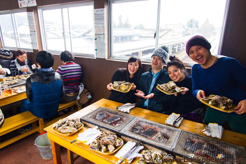 穴水駅 牡蠣 あつあつ亭 Noto Ishikawa Anamizu Oyster restaurant railroad