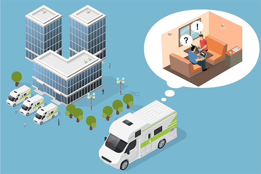 モバイルオフィス カーステイ 東京 丸の内 動くオフィス 会議室 キャンピングカー